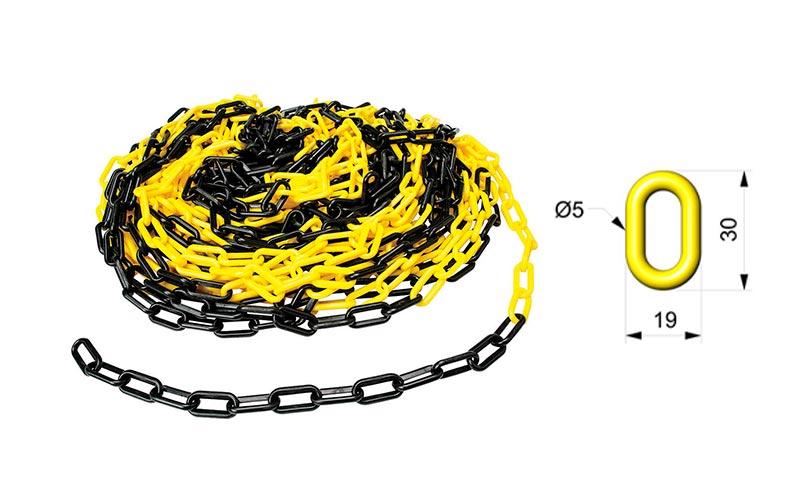 Cadena Para Señalizar Color Amarillo y Negro - C103AN