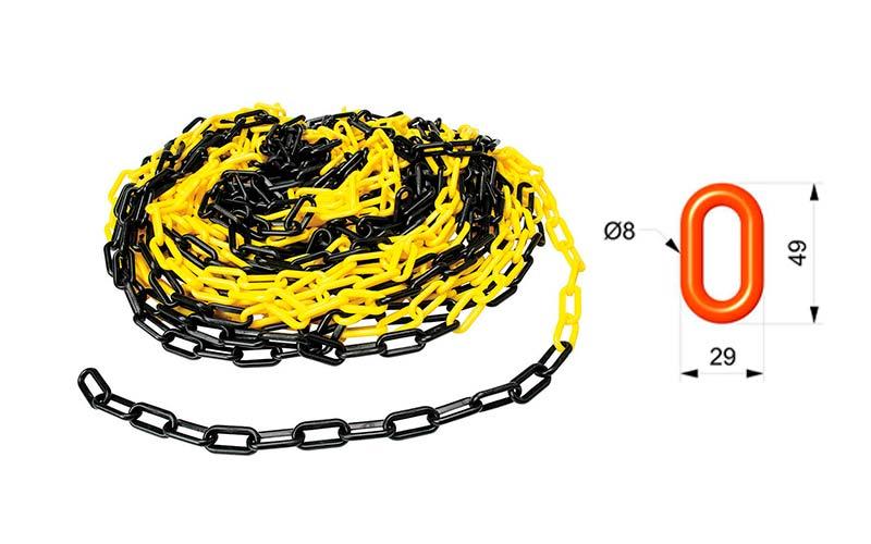 Cadena Para Señalizar Color Amarillo y Negro - C105AN