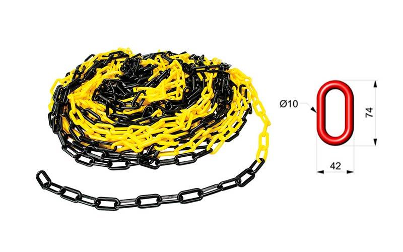 Cadena Para Señalizar Color Amarillo y Negro - C106AN 01