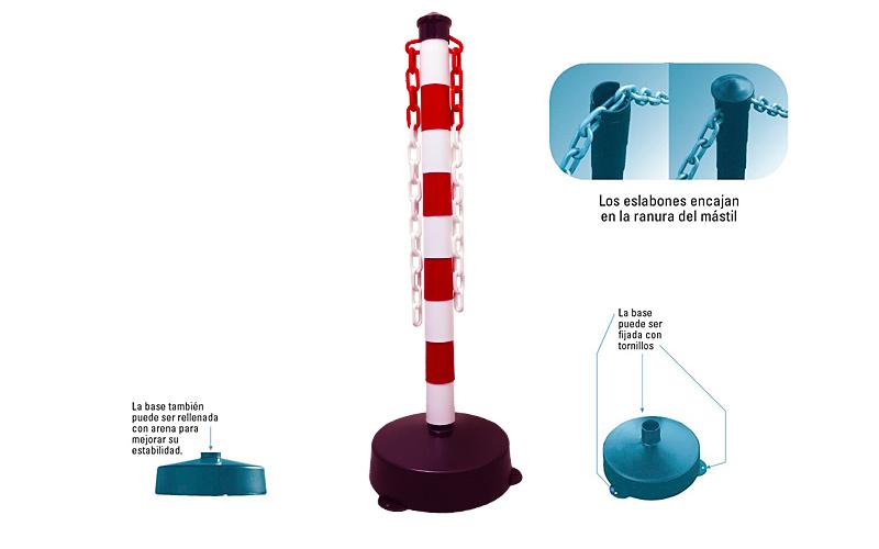 Poste Demarcatorio Con Base Rojo y Blanco - POSTERB 02